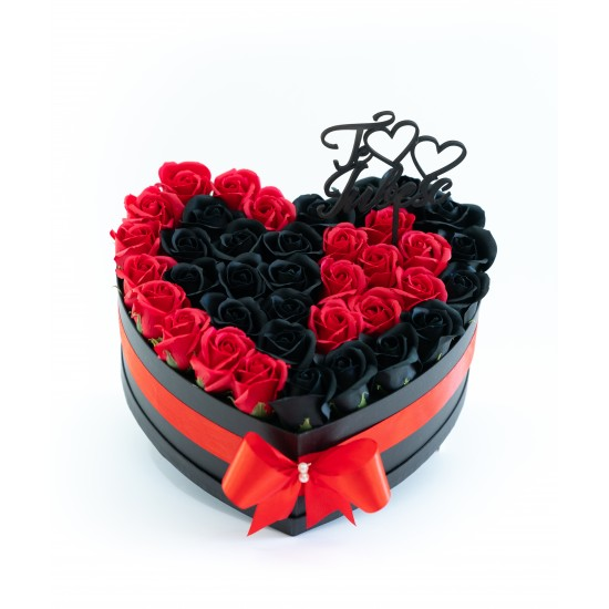 Aranjament cu trandafiri de sapun Double Heart