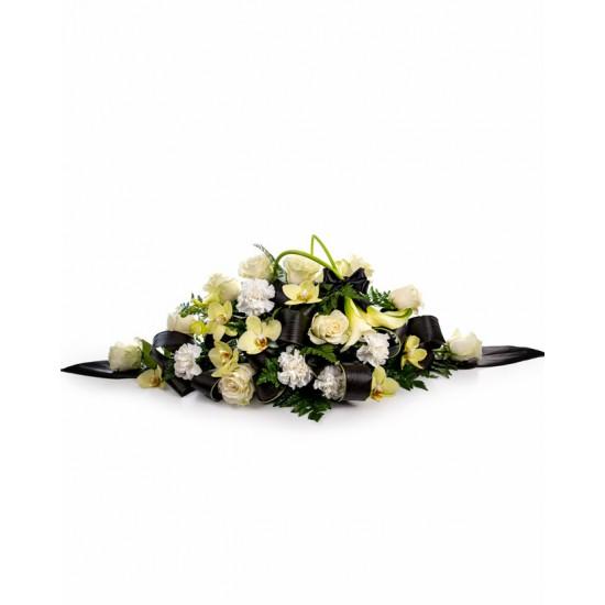 Aranjament funerar TRANDAFIRI, GAROAFE SI ORHIDEE
